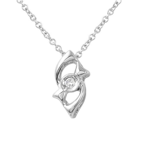 Natural 0.02 CTW Diamond Necklace 14K White Gold - REF-12R6K