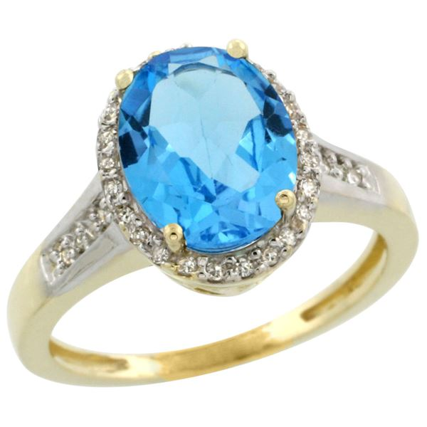 2.60 CTW Swiss Blue Topaz & Diamond Ring 10K Yellow Gold - REF-46K7W