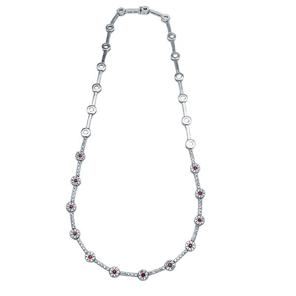 Natural 2.09 CTW Ruby & Diamond Necklace 14K White Gold - REF-271X8T