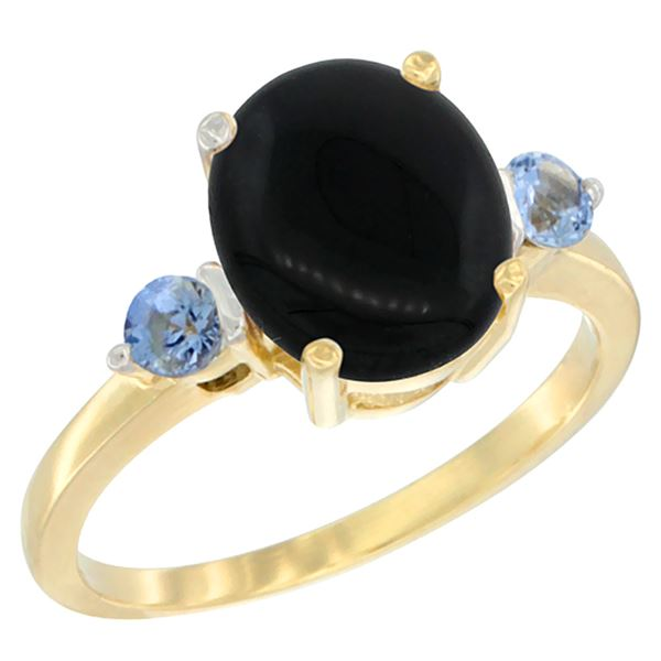 1.79 CTW Onyx & Blue Sapphire Ring 14K Yellow Gold - REF-30M3K