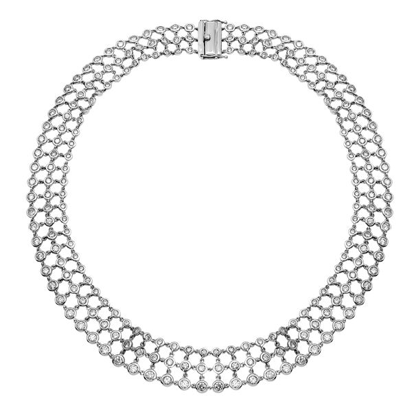 Natural 16.17 CTW Diamond Necklace 14K White Gold - REF-1517R4K