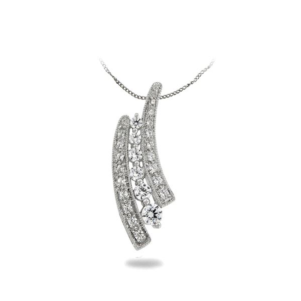 Natural 0.50 CTW Diamond Necklace 14K White Gold - REF-67Y5N