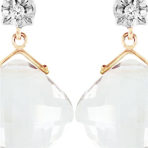 Genuine 17.56 ctw White Topaz & Diamond Earrings 14KT Yellow Gold - REF-46Y5F