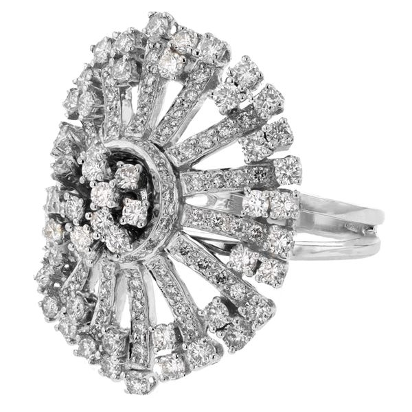 Natural 2.56 CTW Diamond Ring 18K White Gold - REF-391M5F