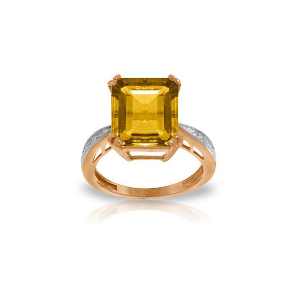 Genuine 5.62 ctw Citrine & Diamond Ring 14KT Rose Gold - REF-82H9X