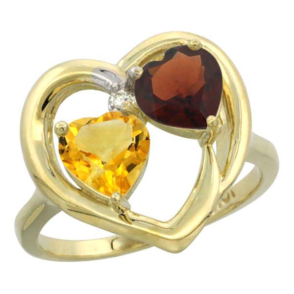 2.61 CTW Diamond, Citrine & Garnet Ring 14K Yellow Gold - REF-33Y9V