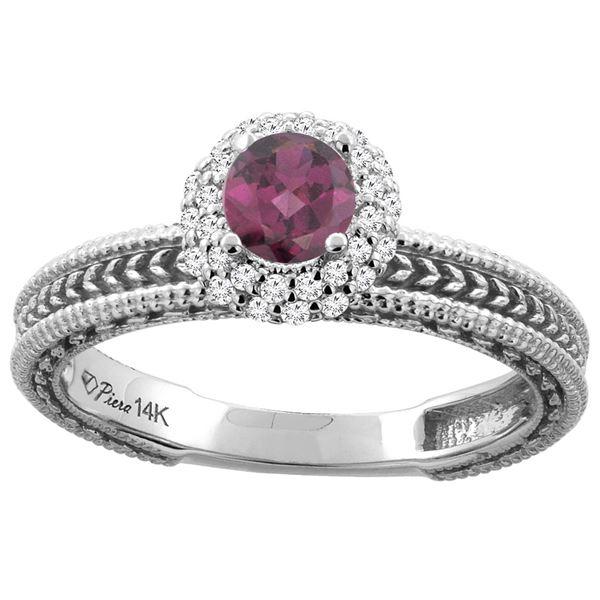 0.85 CTW Rhodolite & Diamond Ring 14K White Gold - REF-53K6W