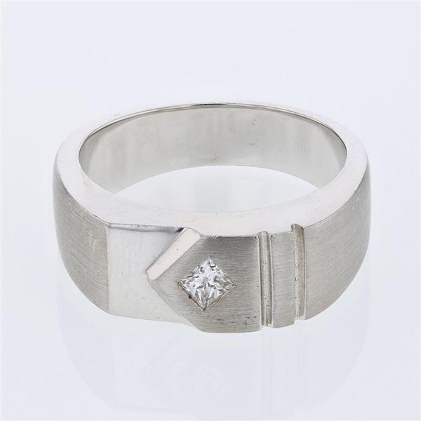 Natural 0.21 CTW Princess Diamond Ring 14K White Gold - REF-121M5F