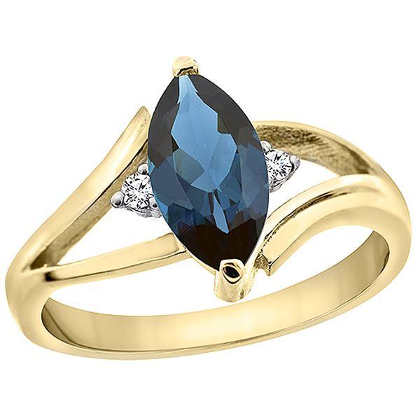 1.24 CTW London Blue Topaz & Diamond Ring 10K Yellow Gold - REF-23F3N