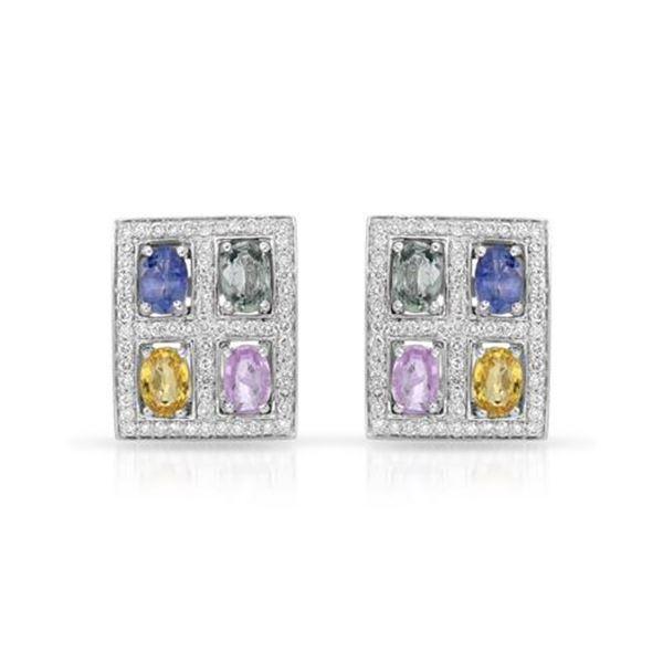Natural 5.40 CTW Multi-Sapphire & Diamond Earrings W=4MM 14K Gold - REF-164R7K