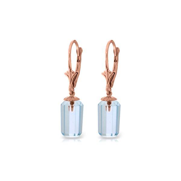 Genuine 9 ctw Blue Topaz Earrings 14KT Rose Gold - REF-25V6W