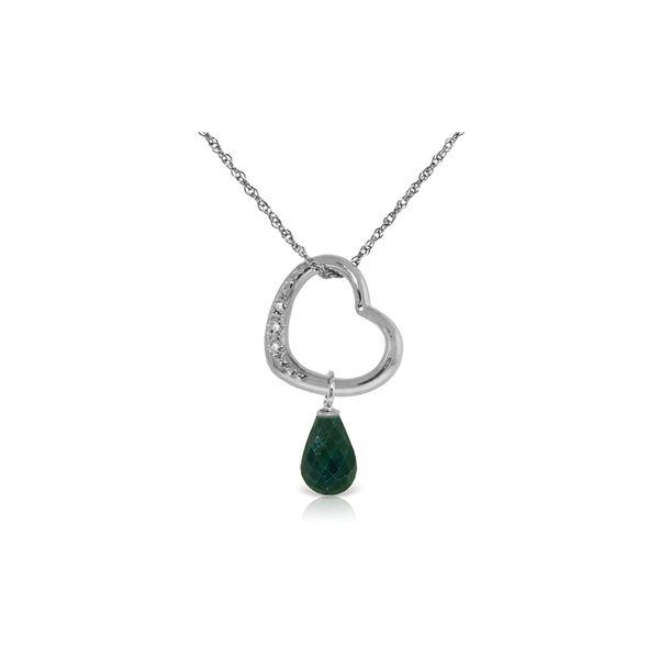 Genuine 3.33 ctw Emerald & Diamond Necklace 14KT White Gold - REF-46W2Y
