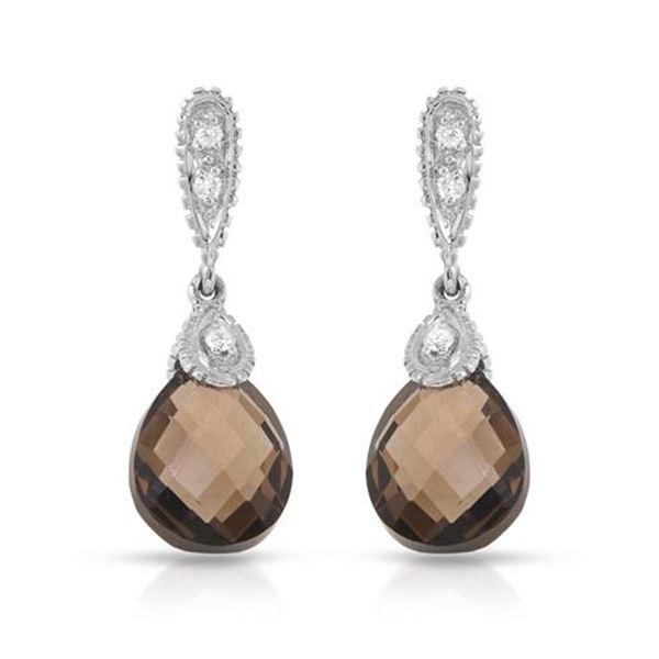 Natural 4.86 CTW Smoky Topaz & Diamond Earrings 14K White Gold - REF-35M3F