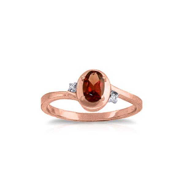 Genuine 0.51 ctw Garnet & Diamond Ring 14KT Rose Gold - REF-25H4X