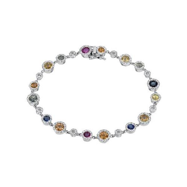 Natural 4.95 CTW Multi-Sapphire & Diamond Bracelet 14K White Gold - REF-189M9F