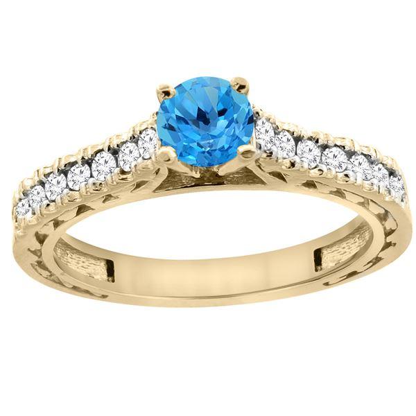 0.86 CTW Swiss Blue Topaz & Diamond Ring 14K Yellow Gold - REF-62W4F