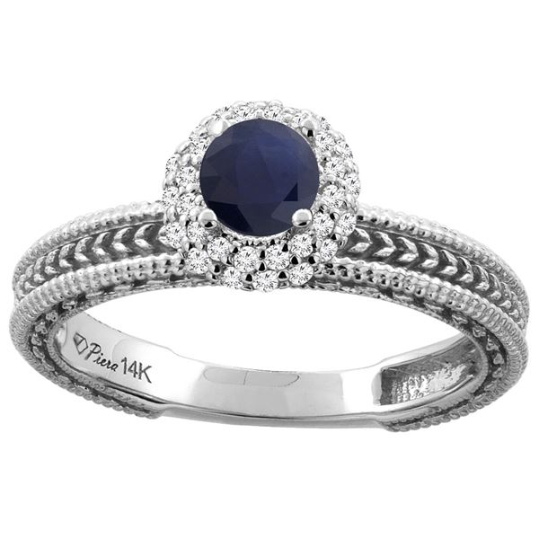 0.85 CTW Blue Sapphire & Diamond Ring 14K White Gold - REF-63R9H