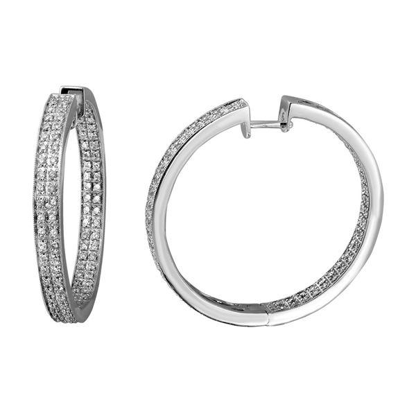 Natural 1.39 CTW Diamond Earrings 14K White Gold - REF-215H3W
