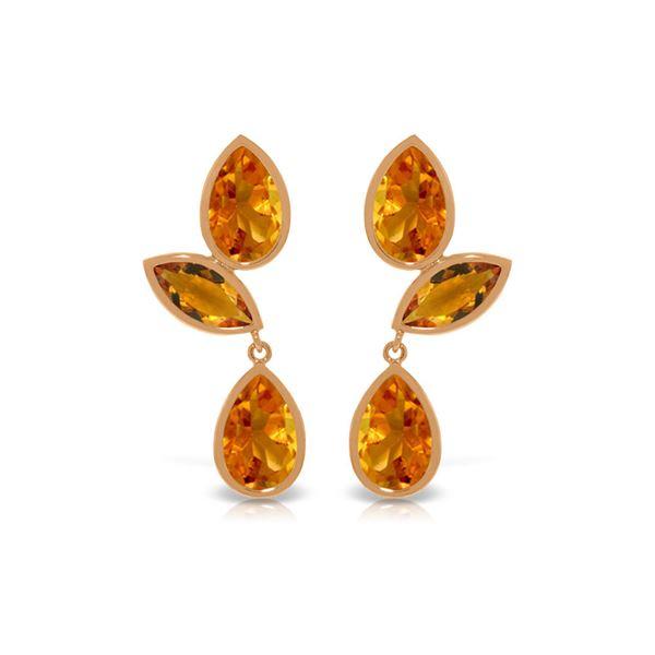 Genuine 13 ctw Citrine Earrings 14KT Rose Gold - REF-58A7K
