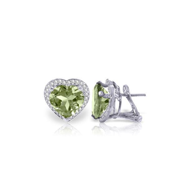 Genuine 6.48 ctw Green Amethyst & Diamond Earrings 14KT White Gold - REF-101K4V