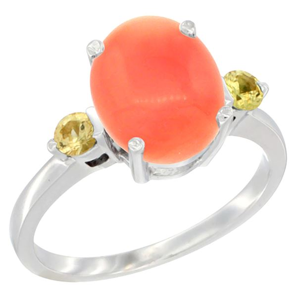 0.24 CTW Yellow Sapphire & Natural Coral Ring 14K White Gold - REF-31M6A