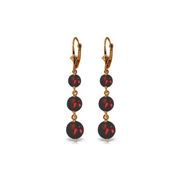 Genuine 7.2 ctw Garnet Earrings 14KT Rose Gold - REF-42H6X