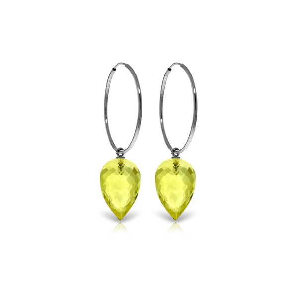 Genuine 18 ctw Quartz Lemon Earrings 14KT White Gold - REF-32N4R