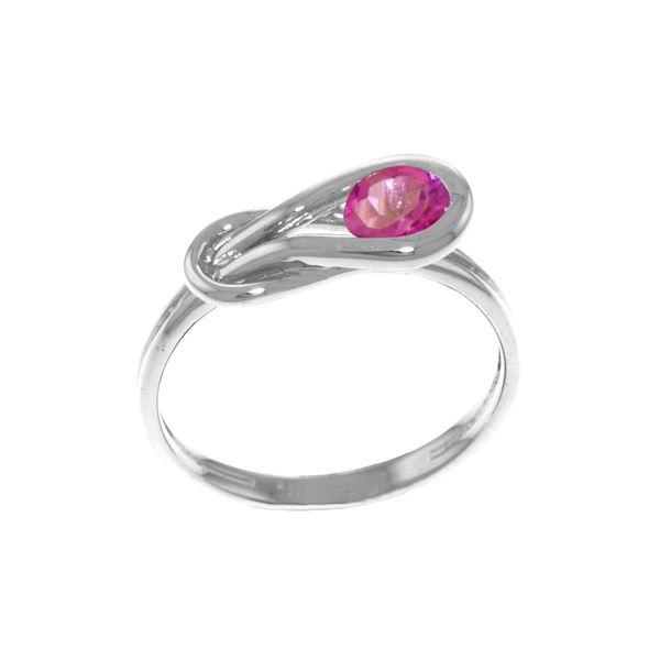 Genuine 0.65 ctw Pink Topaz Ring 14KT White Gold - REF-47M2T