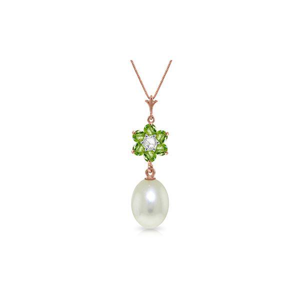 Genuine 4.53 ctw Pearl, Peridot & Diamond Necklace 14KT Rose Gold - REF-29Z7N
