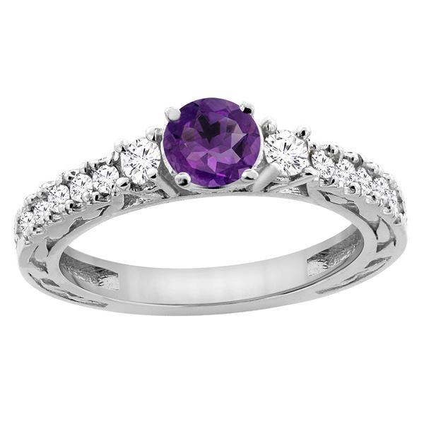 1.10 CTW Amethyst & Diamond Ring 14K White Gold - REF-79Y3V
