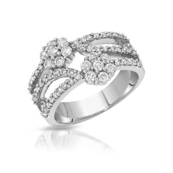 Natural 0.96 CTW Diamond Ring 14K White Gold - REF-96X3T