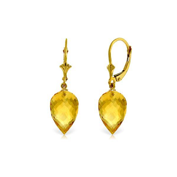 Genuine 19 ctw Citrine Earrings 14KT Yellow Gold - REF-35P9H