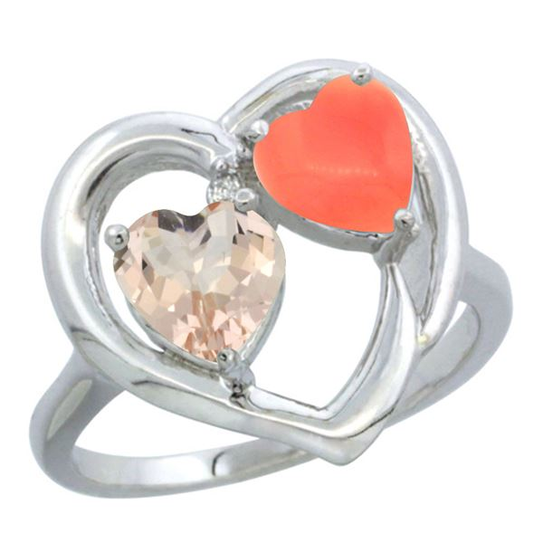 0.61 CTW Morganite & Diamond Ring 10K White Gold - REF-26F2N