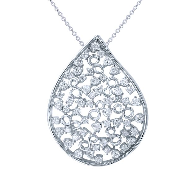 Natural 1.16 CTW Diamond Necklace 18K White Gold - REF-189Y9N