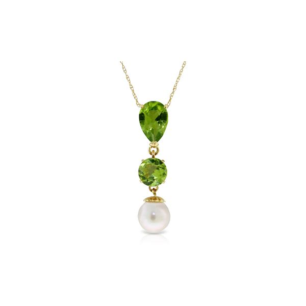 Genuine 5.25 ctw Peridot & Pearl Necklace 14KT Yellow Gold - REF-25W9Y