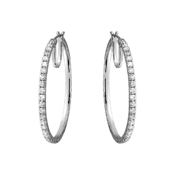 Natural 3.44 CTW Diamond Earrings 14K White Gold - REF-427H5W