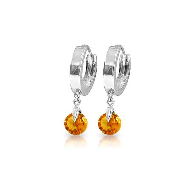 Genuine 1.6 ctw Citrine Earrings 14KT White Gold - REF-25A9K