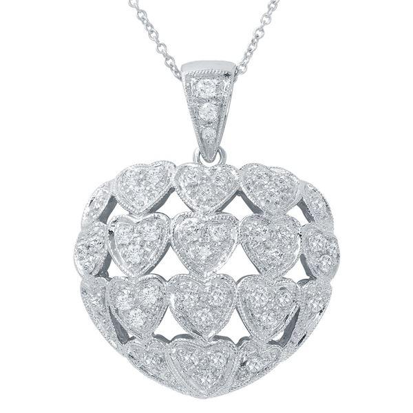Natural 0.84 CTW Diamond Necklace 14K White Gold - REF-136R8K
