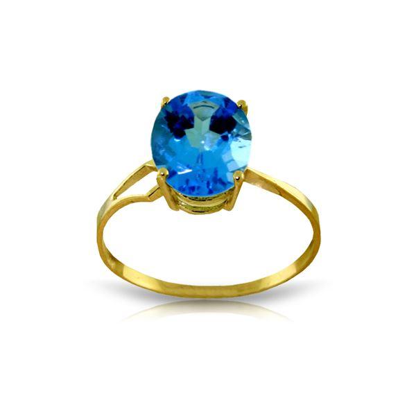 Genuine 2.2 ctw Blue Topaz Ring 14KT Yellow Gold - REF-27M8T