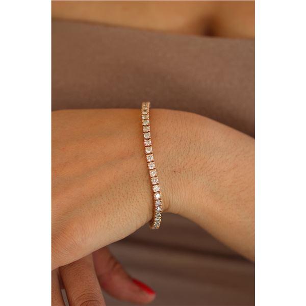 Natural 6.05 ctw Diamond Eternity Tennis Bracelet 18K Rose Gold - REF-507R2K