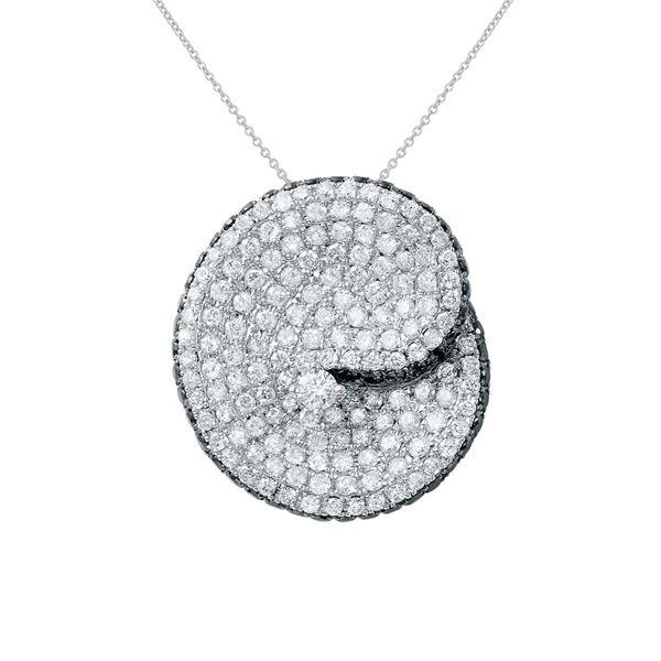 Natural 2.38 CTW Diamond & Black Round Diamond Necklace 14K White Gold - REF-216R2K