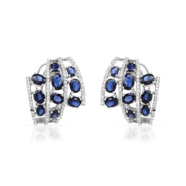 Natural 7.33 CTW Sapphire & Diamond Earrings 18K White Gold - REF-266Y4N
