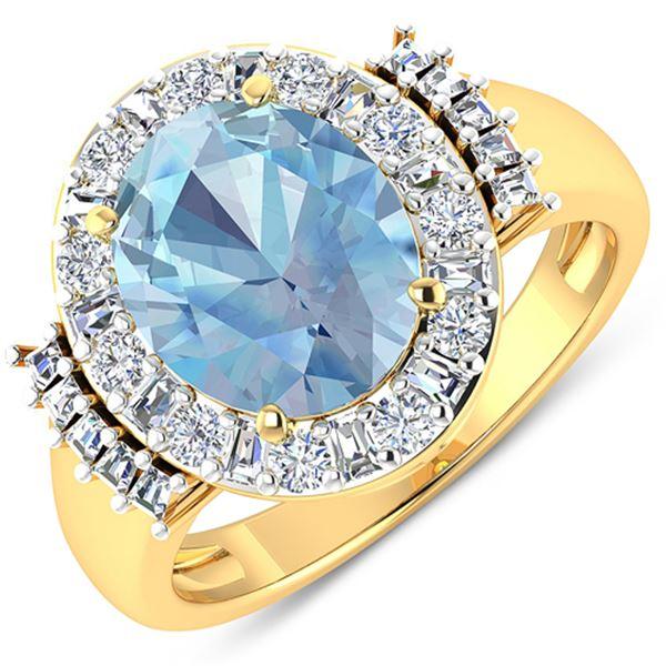 Natural 3.53 CTW Aquamarine & Diamond Ring 14K Yellow Gold - REF-134F2N