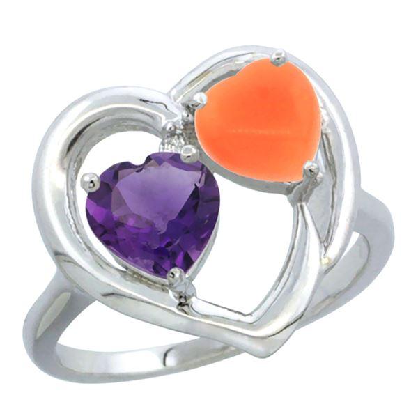 1.31 CTW Amethyst & Diamond Ring 10K White Gold - REF-23H5M