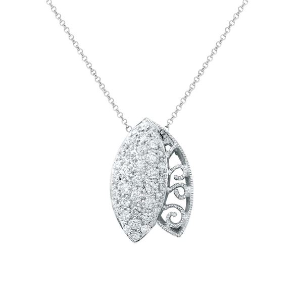 Natural 0.78 CTW Diamond Necklace 14K White Gold - REF-74H7W