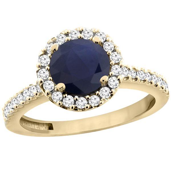 1.43 CTW Blue Sapphire & Diamond Ring 10K Yellow Gold - REF-110V4R
