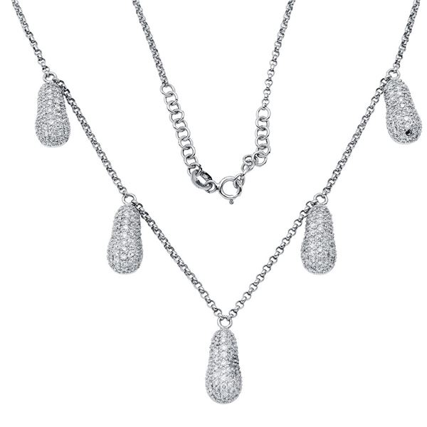 Natural 2.24 CTW Diamond Necklace 18K White Gold - REF-186Y3N