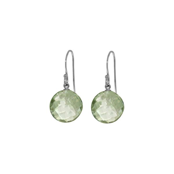 Genuine 12 ctw Green Amethyst Earrings 14KT White Gold - REF-24W4Y