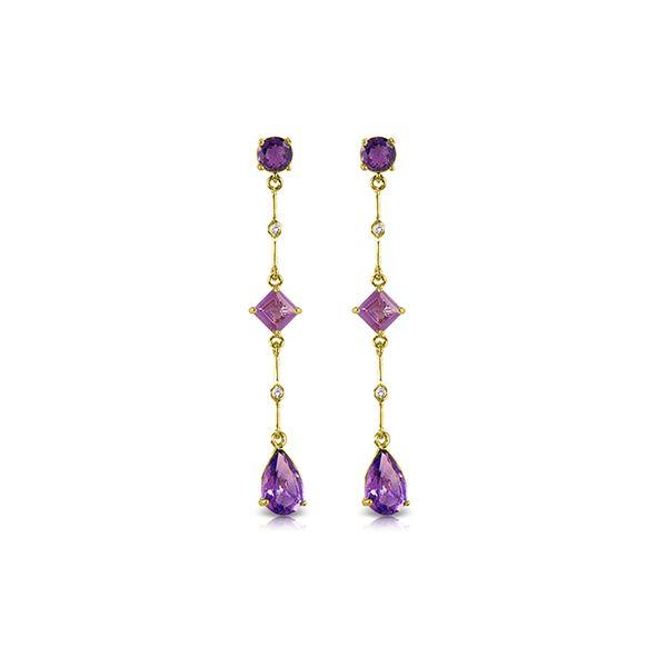 Genuine 6.06 ctw Amethyst & Diamond Earrings 14KT Yellow Gold - REF-33R8P
