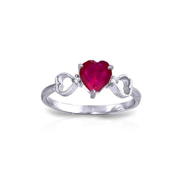 Genuine 1.01 ctw Ruby & Diamond Ring 14KT White Gold - REF-43A2K